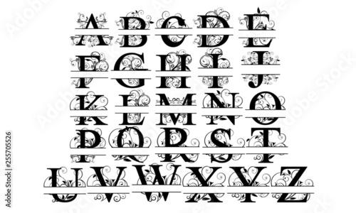 Split Monogram Letter Wallpaper Mural
