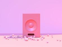 Minimal Abstract Pink Scene Floor Wall Round Speaker Music Concept 3d Rendering