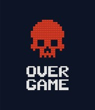 Game Over Text And Red Skull 8...
