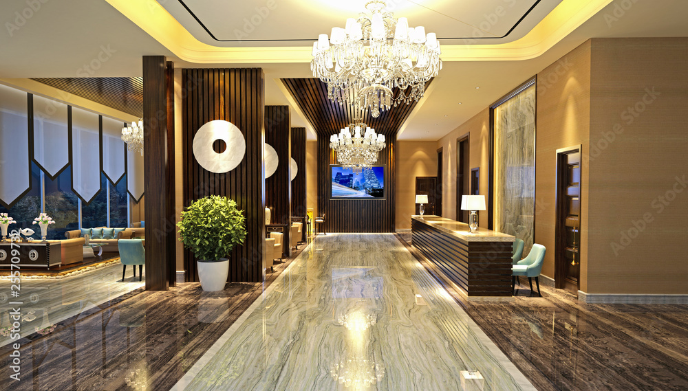 Fototapeta 3d render luxury hotel reception