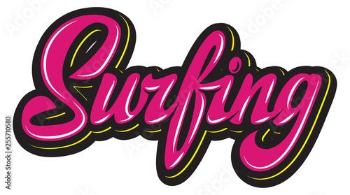 Fotografía  Vector color calligraphic inscription surfing for design