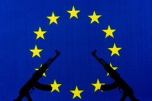 The EU Flag And The Silhouette Of The Weapon.