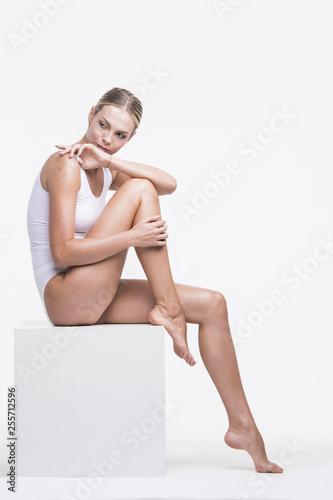 Fototapeta Woman in cotton underwear obraz na płótnie