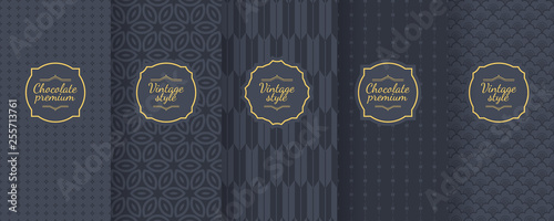 Türaufkleber Künstlich Set of dark vintage seamless backgrounds for luxury packaging design.