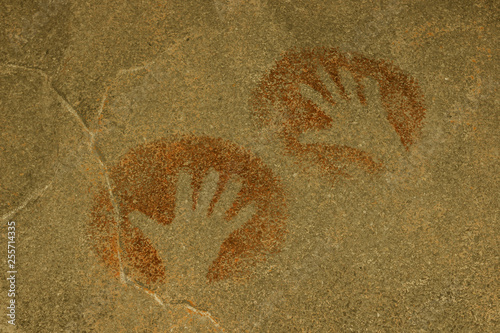 Fotografie, Obraz  handprints of people painted on the wall of the cave