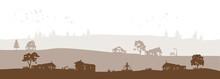 Brown Grey Vector Landscape Wi...