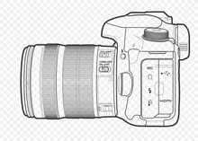 Outline Vector Illustration Of Reflex Slr Camera With Lens In Half-face, Drawn With Lines