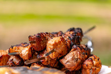 Meat On Skewers Roasted Over An Open Fire Close-up