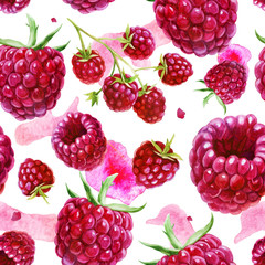 Panel Szklany Owoce Watercolor illustration, pattern. Berries on white background. Raspberries, raspberries on a twig, pink spots.