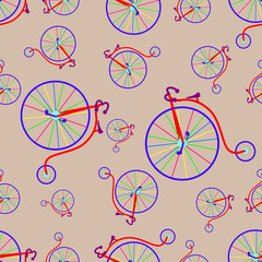 Fototapeta Sport seamless pattern with vintage multicolored bicycle - vector illustration, eps