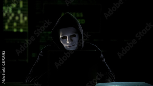 Fotografia  Man in mask cracking codes on laptop, falsification in elections, vote rigging