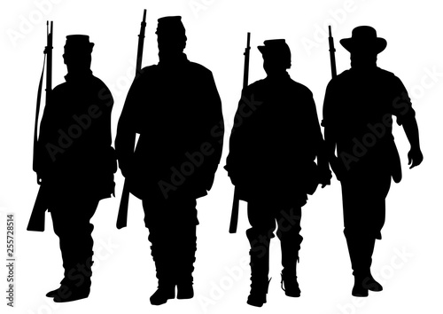 American soldiers in uniform of civil war times on white background Fototapet
