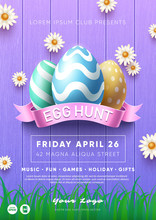 Easter Egg Hunt Party Flyer Template. Colorful Eggs Composition. Eps10 Vector.