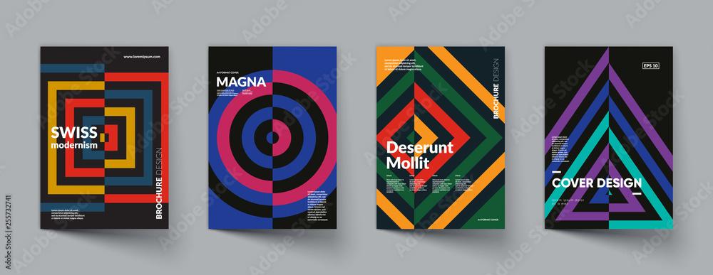 Fototapeta Retro geometric covers design. Swiss modernism. Eps10 vector.