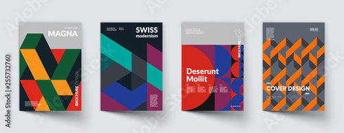 Retro geometric covers design. Eps10 vector.