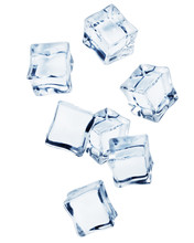 Falling Ice Cube, Isolated On ...