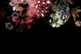 Karta kwiatowy. Vintage kwiaty.