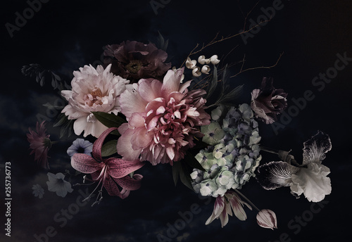 Photo Floral background. Vintage flowers.