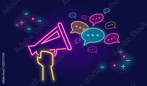 Megaphone shouting out with speech bubbles banner for social networks in neon li Fototapeta