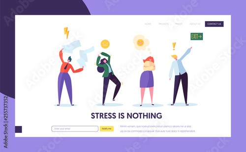 Vászonkép  Angry Male and Female Character Making Public Scandal Concept Landing Page