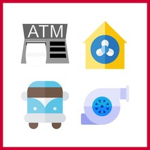 4 Service Icon. Vector Illustration Service Set. Motor And Van Icons For Service Works