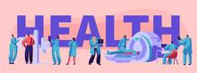 Clinic Tomography Banner. Medical Center Hospital Healthcare Patient. Healthy Professional Computer Diagnostic Department. Clinical Specialist Mri Rentgen. Flat Cartoon Vector Illustration