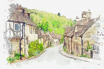 Fototapeta Architektura Watercolor sketch or illustration of a beautiful view of traditional houses in a small town or village of Castle Combe in England