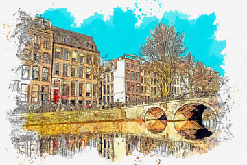 Fototapeta Architektura Watercolor sketch or illustration of a beautiful view of traditional residential buildings or urban architecture in Amsterdam in the Netherlands