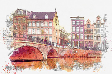 Panel Szklany Architektura Watercolor sketch or illustration of a beautiful view of traditional residential buildings or urban architecture in Amsterdam in the Netherlands