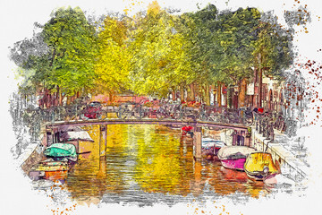 Panel Szklany Współczesny Watercolor sketch or illustration of a beautiful view of the urban architecture with a bridge and bicycles on it and boats on the water in Amsterdam in the Netherlands