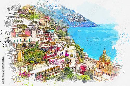 Fotografia Watercolor sketch or illustration of the view of Conca dei Marini - a commune in
