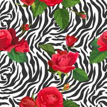 Flowers And Zebra Skin Seamles...