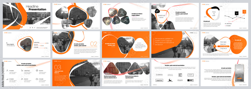 Fototapety, obrazy: Presentation template. Orange elements for slide presentations on a white background. Use also as a flyer, brochure, corporate report, marketing, advertising, annual report, banner. Vector