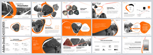 Fototapeta Presentation template. Orange elements for slide presentations on a white background. Use also as a flyer, brochure, corporate report, marketing, advertising, annual report, banner. Vector obraz
