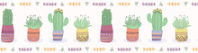 Cactus In Plant Pot Seamless B...