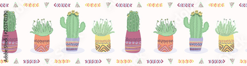 Ingelijste posters Boho Stijl Cactus in plant pot seamless border pattern. Indoor succulent houseplant vector illustration. Repeatable tile graphic design banner riboon. Hand drawn desert cacti garden plant washi tape background.