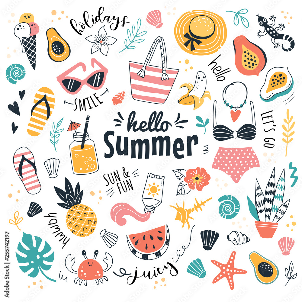 Fototapety, obrazy: Hello Summer collection. Vector illustration of funny cartoon summer icons, such as fruits, exotic animals and plants, swimwear and food in doodle style. Isolated on white.