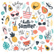 Hello Summer collection. Vector illustration of funny cartoon summer icons, such as fruits, exotic animals and plants, swimwear and food in doodle style. Isolated on white.