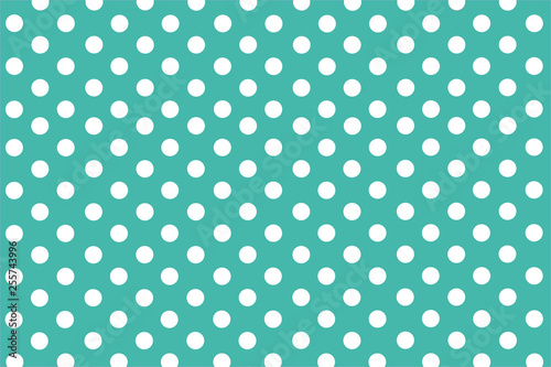 Turkusowe tło z symetryczne białe kropki