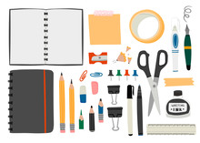 Various Office Tools. Hand Dra...