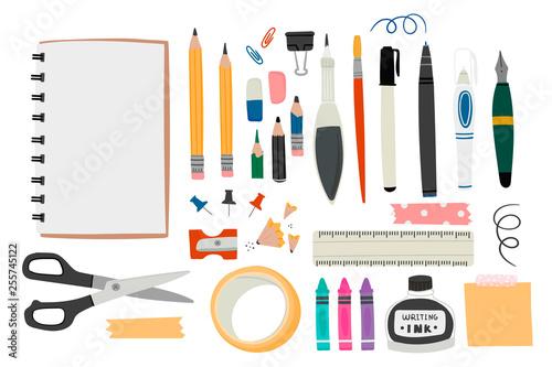 Różne narzędzia do malowania lub rysowania. Ręcznie malowane duży zestaw wektor. Album, kredki, ołówek, gumka, długopis, marker, linijka, nożyczki, farby, itp. modne Kolorowe ilustracje. Wszystkie elementy są izolowane