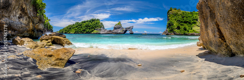 Big Panorama of idyllic tropical beach with small island and perfect azure clean water - 255746378