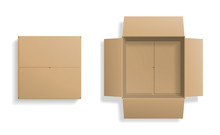 Realistic Cardboard Box Set, Opened And Closed Top View