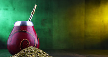 Yerba Mate Cup And Leaves.