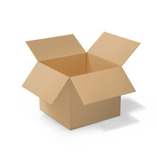 Realistic Cardboard Open Box, Side View