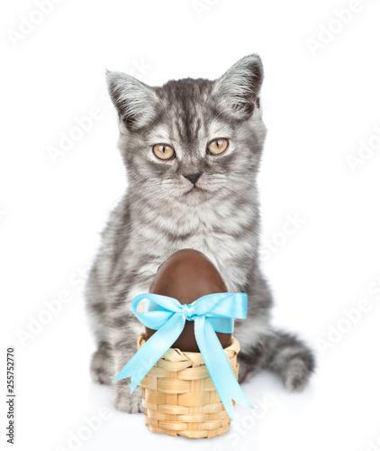 Pręgowany kotek z wielkanocnym koszyku z czekoladowym jajkiem. na białym tle