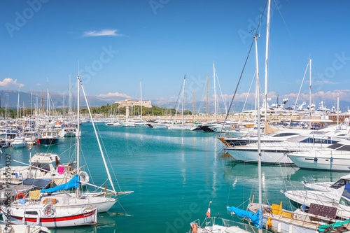 Foto op Aluminium Cyprus View on Port Vauban in the French town of Antibes with Fort Carre in the background