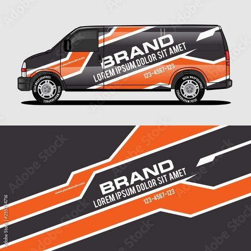 Fotografía  car livery orange van wrap design wrapping sticker and decal design for corporat