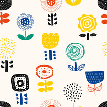 Floral Illustration Background. Seamless Pattern.Vector. 花のイラストパターン