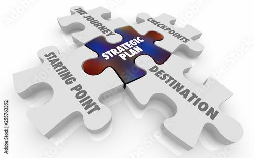 Fotografía Strategic Plan Journey Checkpoints Destination Puzzle Pieces 3d Illustration